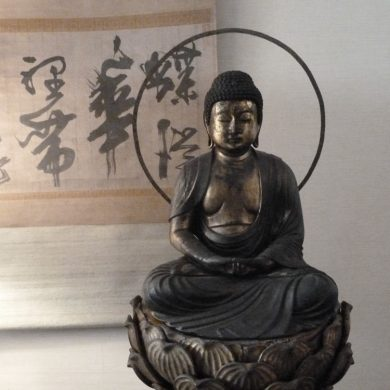 Seated Buddha, Wood carving